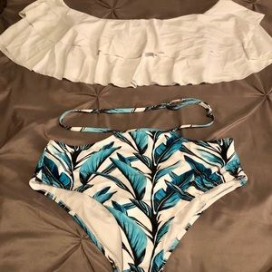 High wasted off shoulder ruffle top bathing suit